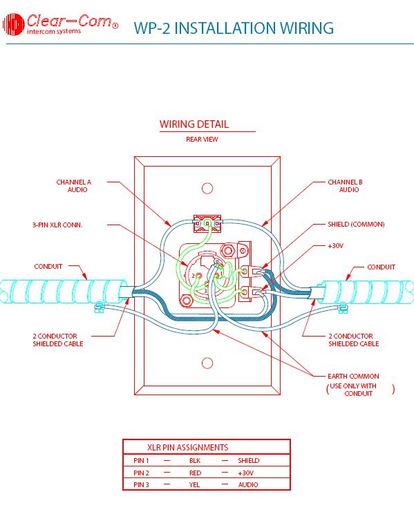 clea_WP2_wiring clear com wp 2 wall plate xlr wall plate wiring diagram at reclaimingppi.co