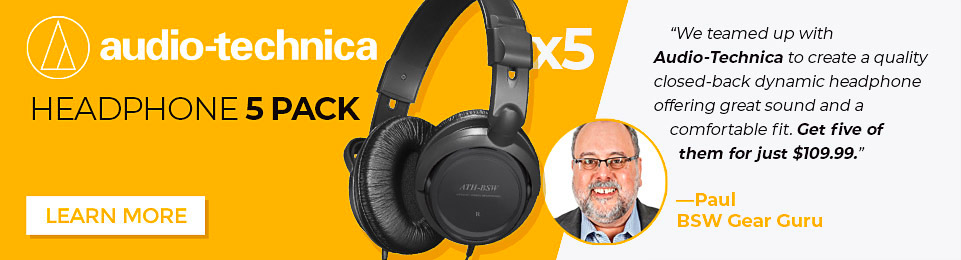 We teamed up with Audio-Technica to create a quality closed-back dynamic headphone offering great sound and a comfortable fit. Get five of them for just $109.99.